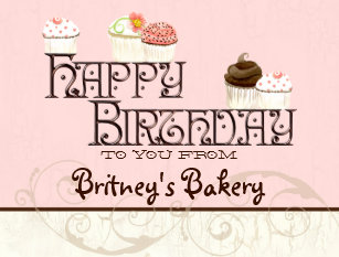 letter b happy birthday cupcake business postcard