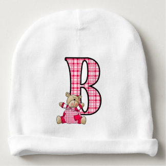 Letter B in Bold Pink for Baby Girl with Bear Baby Beanie