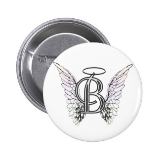 Letter B Initial Monogram with Angel Wings & Halo Button
