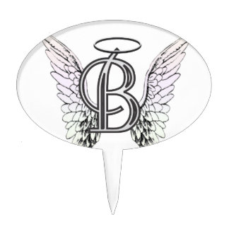 Letter B Initial Monogram with Angel Wings & Halo Cake Topper