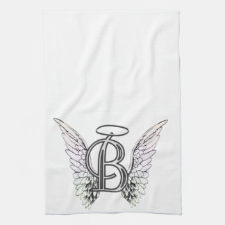 Letter B Initial Monogram with Angel Wings & Halo Kitchen Towel