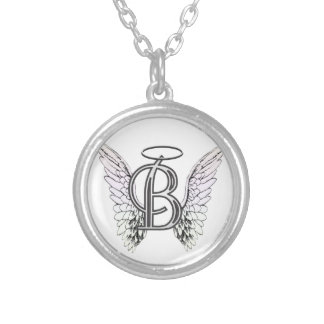 Letter B Initial Monogram with Angel Wings & Halo Round Pendant Necklace