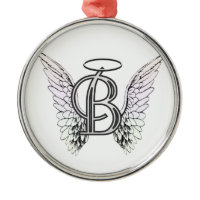 Letter B Initial Monogram with Angel Wings & Halo Christmas Ornament