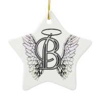 Letter B Initial Monogram with Angel Wings & Halo Christmas Ornaments