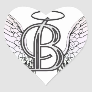 Letter B Initial Monogram with Angel Wings & Halo Heart Stickers