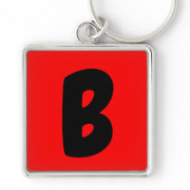 letter b key chain black and red initial