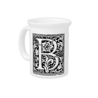 Letter B Medieval Monogram Vintage Initial Beverage Pitcher