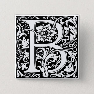 Letter B Medieval Monogram Vintage Initial Button