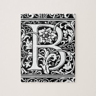letter b medieval monogram vintage initial jigsaw puzzle