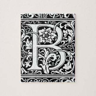 Letter B Medieval Monogram Vintage Initial Jigsaw Puzzle