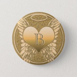 Letter B   Memorial   Angel Heart Pinback Button