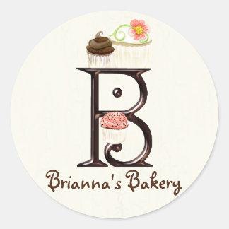 Letter B Monogram Cupcake Logo Business Stickers