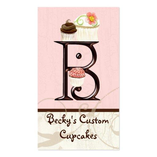 Letter B Monogram Dessert Bakery Business Cards