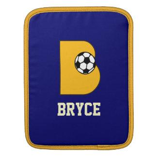 Letter B Monogram in Soccer Gold iPad Sleeve