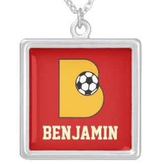 Letter B Monogram in Soccer Gold Square Pendant Necklace