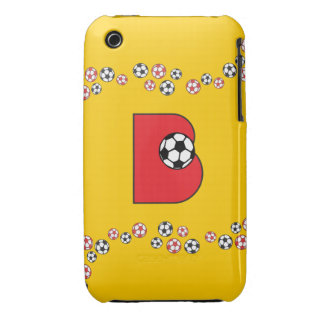 Letter B Monogram in Soccer Red Case-Mate iPhone 3 Cases