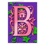 Letter B Monogram Initial on Pink Purple Cards