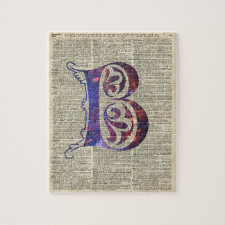 Letter B Monogram Over Old Dictionary Page Jigsaw Puzzle