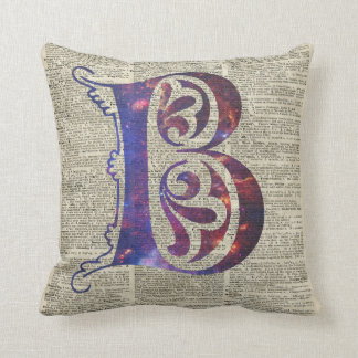 Letter B Monogram Over Old Dictionary Page Throw Pillow