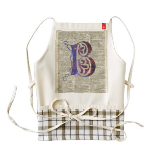 Letter B Monogram Over Old Dictionary Page Zazzle HEART Apron