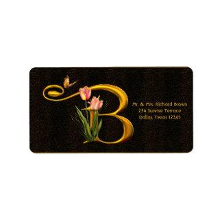 Letter B Monogram Tulip Butterfly Address Labels
