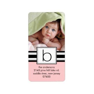 Letter B Monogram Vertical PHOTO Address Labels