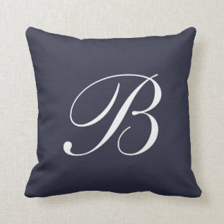 Letter B Navy Blue Monogram Pillow