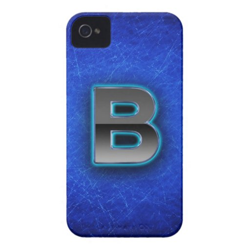 Letter B - neon blue edition iPhone 4 Case