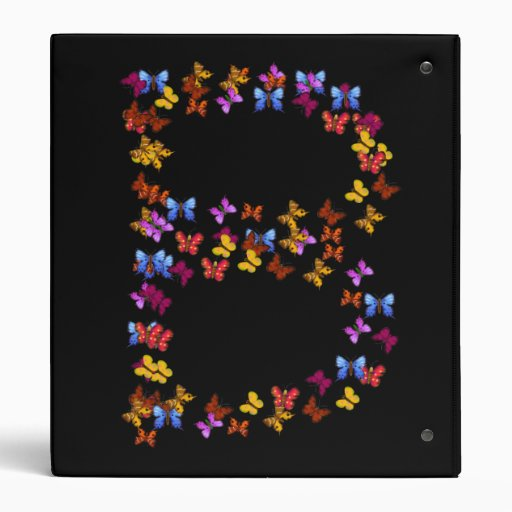 Letter B of colorful butterfly graphics 3 Ring Binder