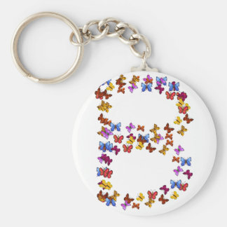 Letter B of colorful butterfly graphics Basic Round Button Keychain