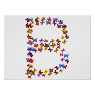 Letter B of colorful butterfly graphics Poster
