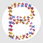 Letter B of colorful butterfly graphics Classic Round Sticker