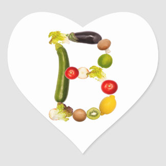 "letter ""B"" of fruits and vegetables Heart Sticker"