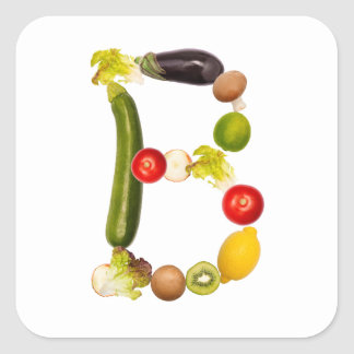 """letter """"B"""" of fruits and vegetables Square Sticker"""