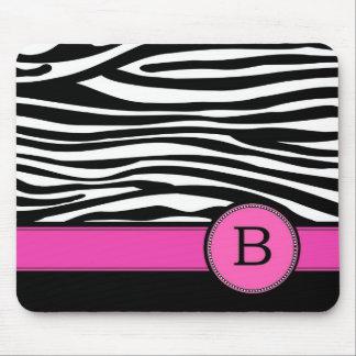 Letter B pink Monogram Zebra stripe Mouse Pad