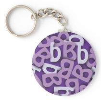 Letter B Purple Keychain