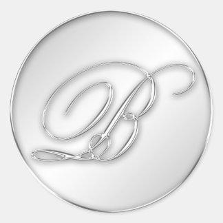 Letter B script initial faux silver monogram favor Classic Round Sticker