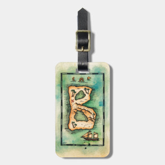 Letter B Treasure Map Luggage Tag