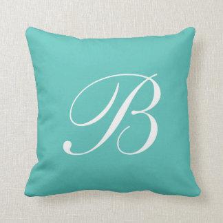 Letter B Turquoise Monogram Pillow