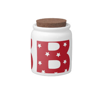 Letter B - White Stars on Dark Red Candy Dishes