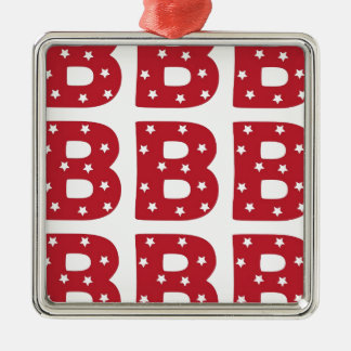 Letter B - White Stars on Dark Red Metal Ornament