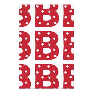 Letter B - White Stars on Dark Red Stationery Paper