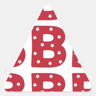 Letter B - White Stars on Dark Red Triangle Sticker