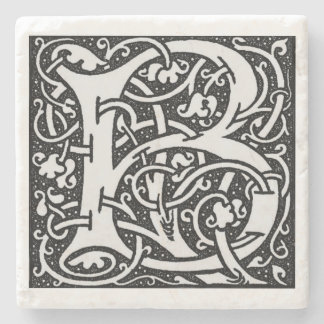 Letter 'B' William Morris Design Square Stone Coaster