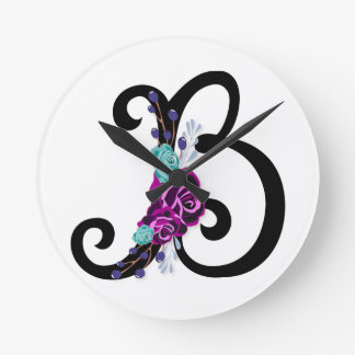 Letter B with vintage floral design and attractive Round Clock