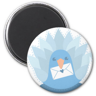 Letter Bird peacock with mail 2 Inch Round Magnet