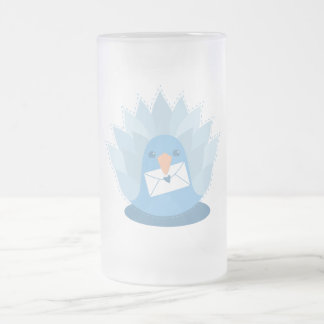 Letter Bird peacock with mail Frosted Glass Beer Mug
