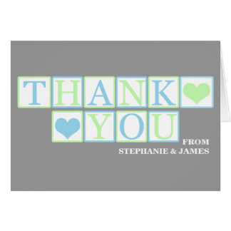 Letter Blocks Baby Shower (boy) Thank You Card