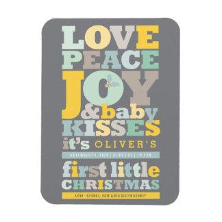 Letter Blocks First Christmas Baby Announcement Rectangular Photo Magnet