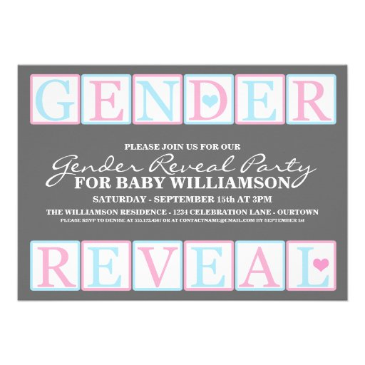 Letter Blocks Gender Reveal Party Invitation